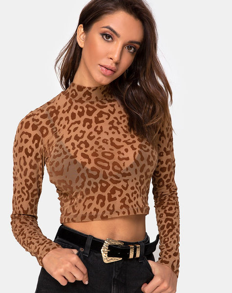 Lara Crop Top in Animal Flock Tan Brown by Motel