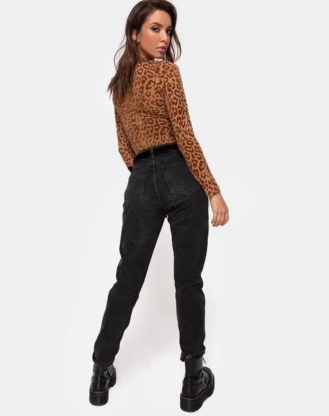 Lara Crop Top in Animal Flock Tan Brown
