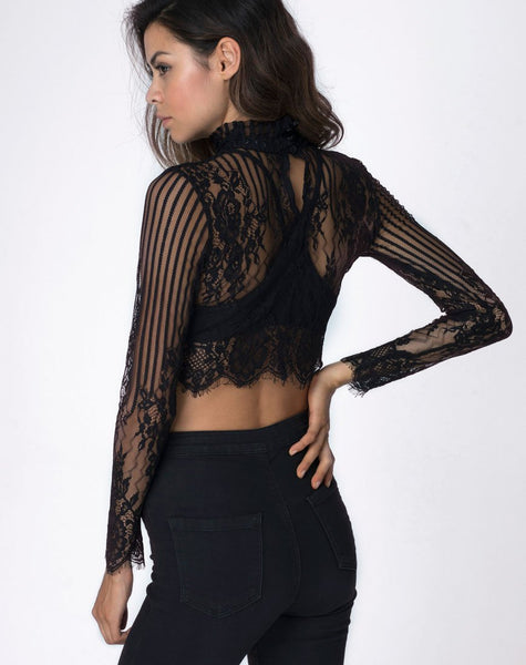 9fd34572194 High Neck Black Lace Crop Top with Long Sleeves | Lara in Stripe ...