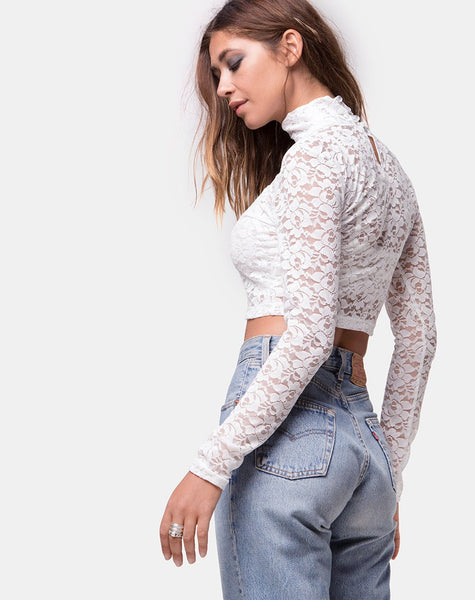 Lara Crop Top in Rose Lace White by Motel