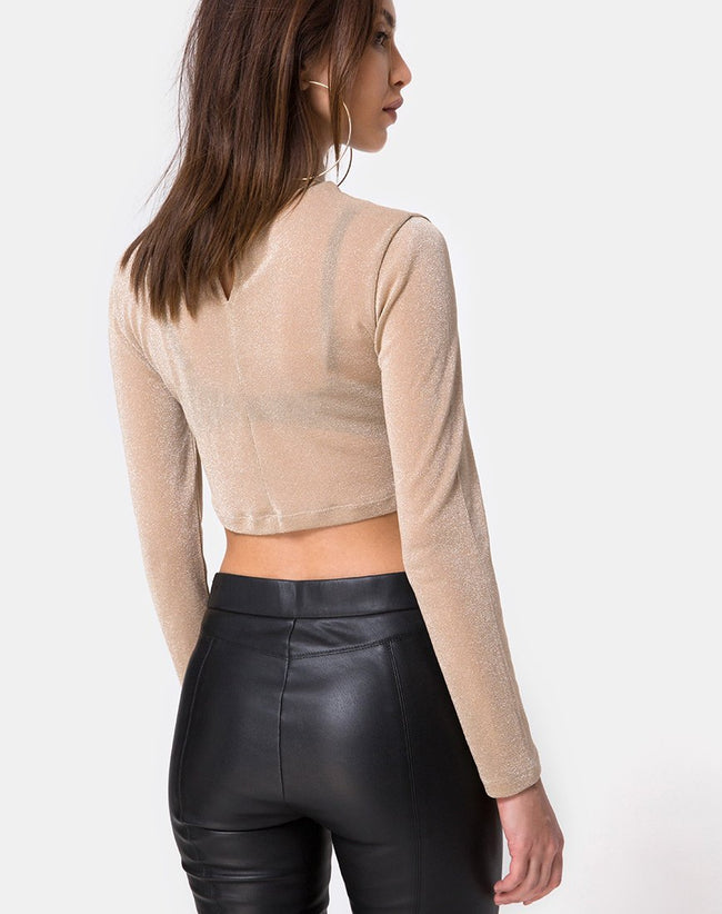 Lara Crop Top in Net Tan by Motel