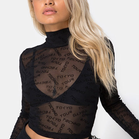 Lara Crop Top in Tokyo Techno Black Net by Motel
