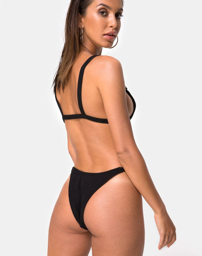 Leema Bikini Top in Black Rib by Motel