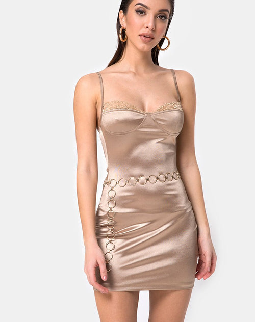 Lesty Bodycon Dress in Gold by Motel