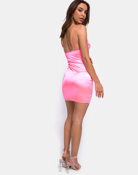 Leta Bodycon Dress in Satin Fluro Pink by Motel