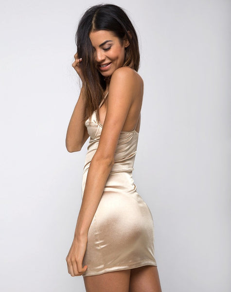 Leta Bodycon Dress in Gold Satin by Motel