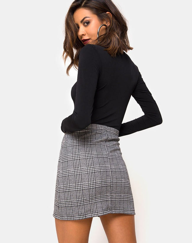 Liga Mini Skirt in Charles Check with Hook and Eye by Motel