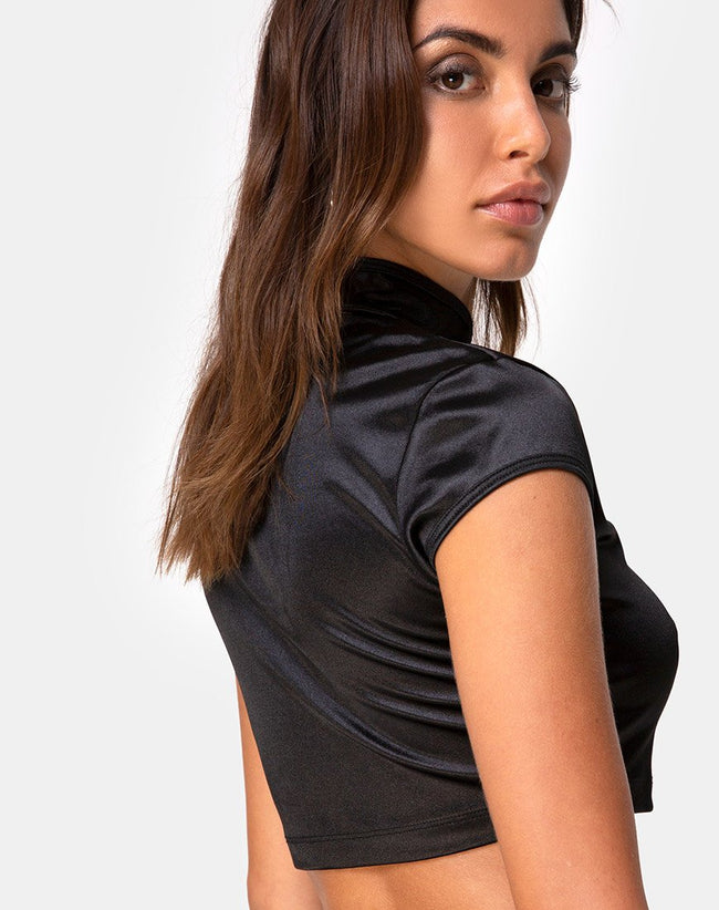 Lina Crop Top in Satin Black by Motel