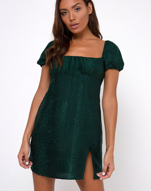 Lonma Mini Dress in Satin Cheetah Forest Green by Motel