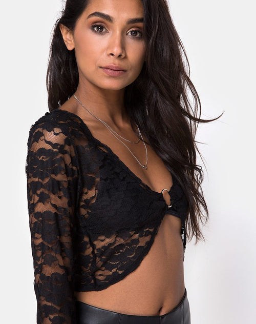 Lorya Crop Top in Lace Black by Motel