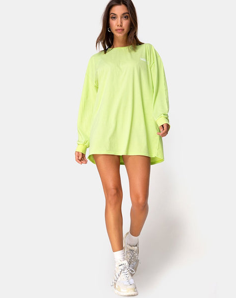 Lotsun Sweatshirt in Motel No Vacancy Fluro Green by Motel