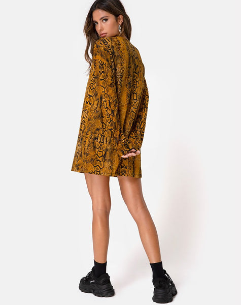 aab4209fa53e4 Lotsun Jumper Dress in Snake Mustard by Motel – motelrocks-com-us