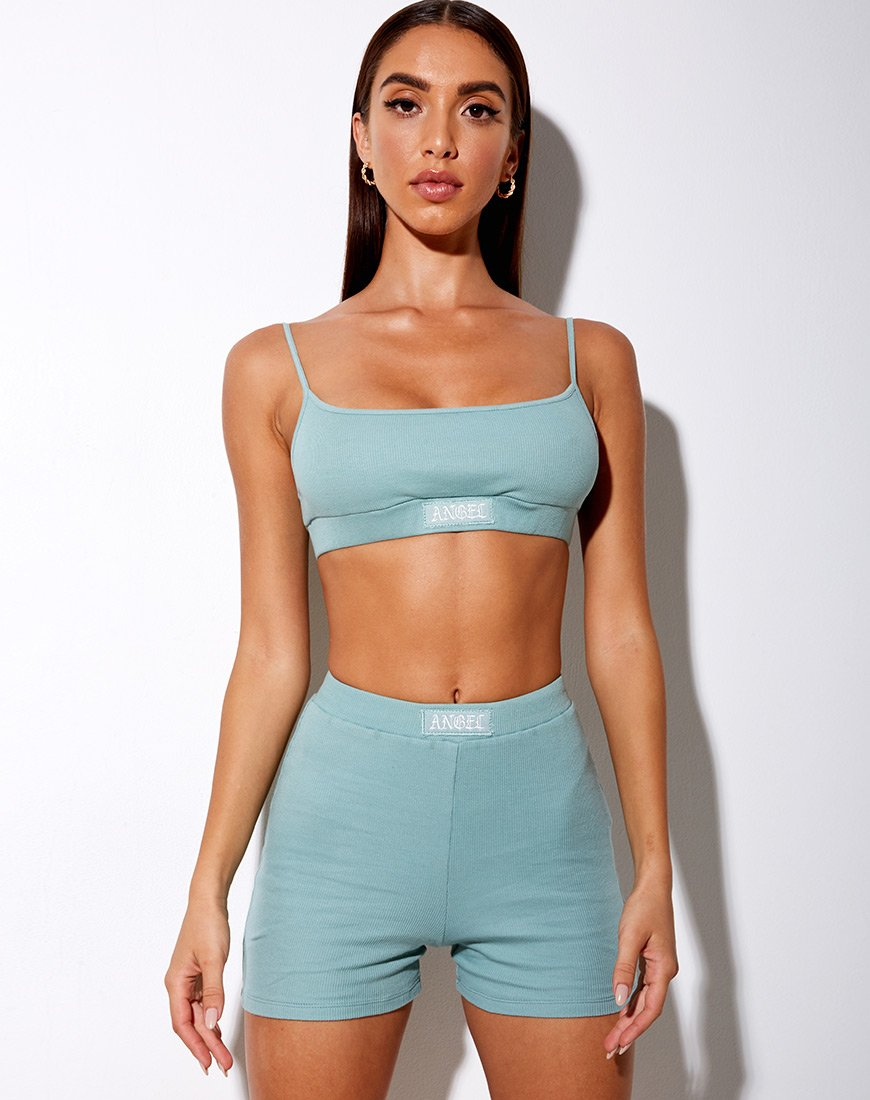 "Lou Hot Pant in Seafoam ""Angel"" Embro in White"