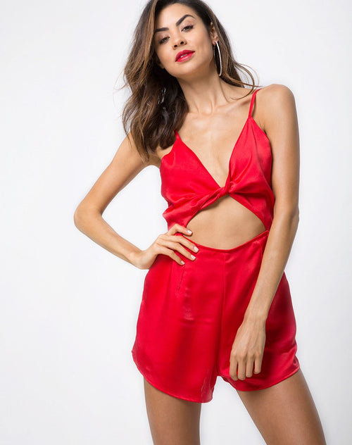 Lozay Cutout Playsuit in Satin Red by Motel