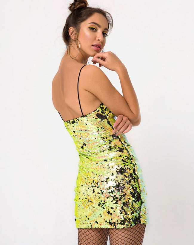 Lucky Bodycon Dress in Citrus Black Sequin by Motel