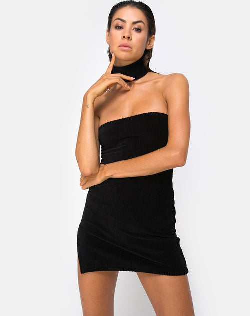 Luste Bodycon Dress in Rib Black by Motel