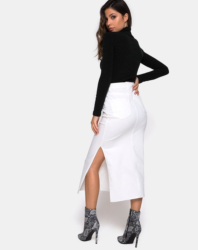 Lyra Midi Skirt in White by Motel