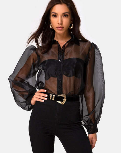 Makiza Top in Black Organza by Motel