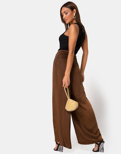 Mara Trouser in Satin Brown by Motel
