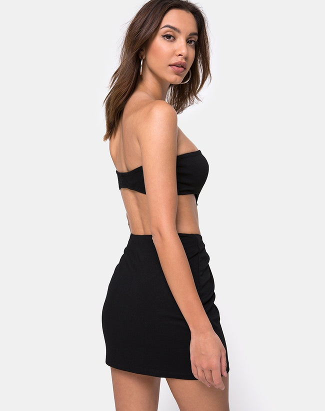 Maraya Mini Dress in Black with Silver Buckle by Motel