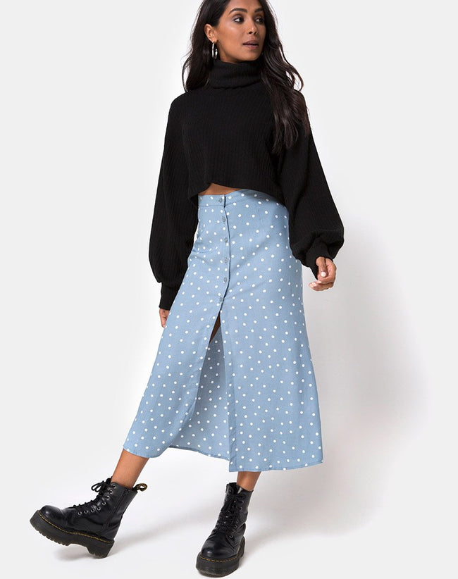 Marni Midi Skirt in Skater Polka Blue by Motel