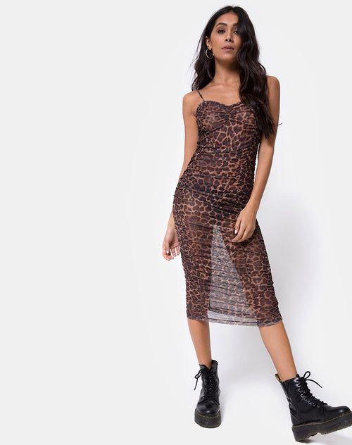 Mauna Dress in Leopard Mesh by Motel