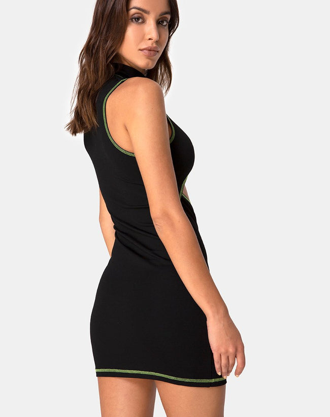 Meela Dress in Black with Lime Flatlock