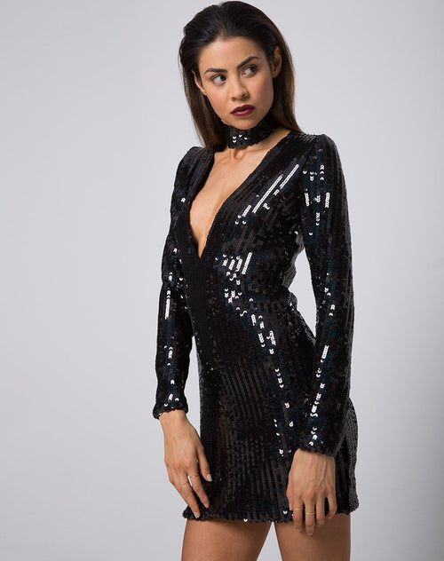 Meli Dress and Choker in Fishscale Sequin Black Iridescent by Motel