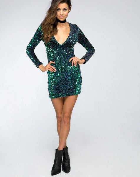 Meli Plunge Neck Bodycon Dress in Green Iridescent Sequin by Motel