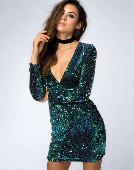 Meli Plunge Neck Bodycon Dress in Black Iridescent Sequin by Motel