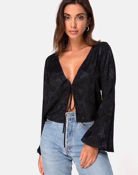 Merida Top in Satin Rose Black by Motel