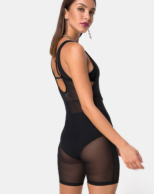 Acro Unitard in Mesh Black By Motel