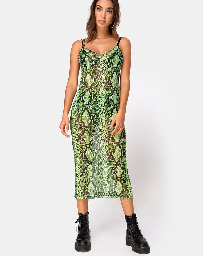 Midnight Midi Dress in Slime Lime Snake Mesh by Motel