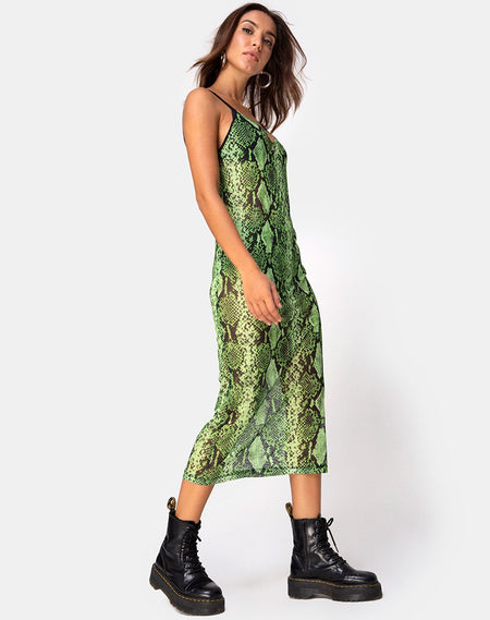 Maxine Maxi Dress in Lime Animal Flock by Motel