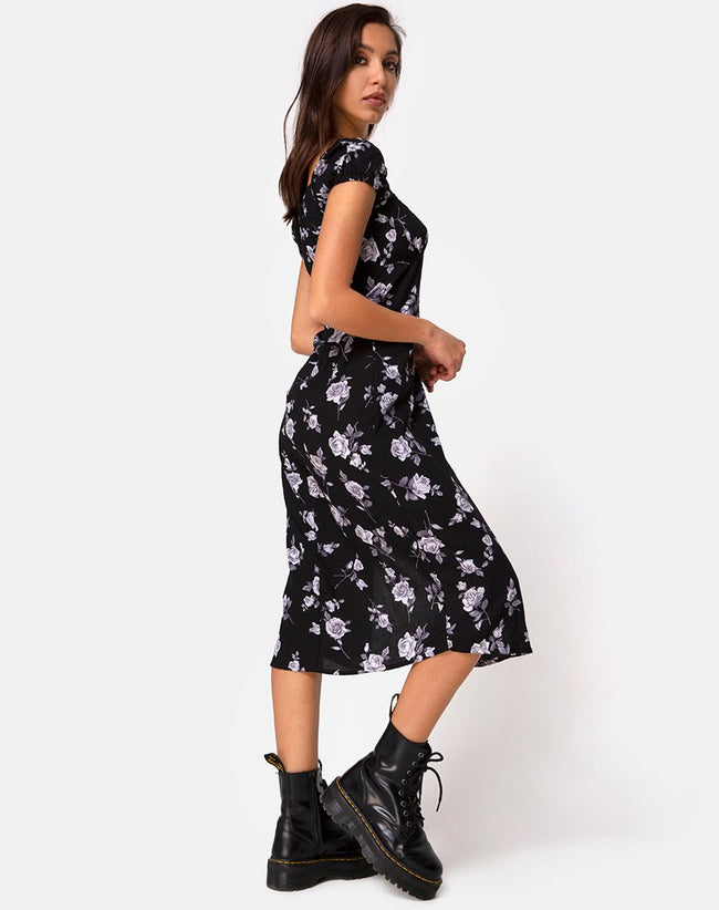 Milla Midi Dress in White Rose Black by Motel