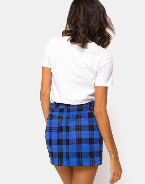 Mini Broomy Skirt in Tartan Blue By Motel