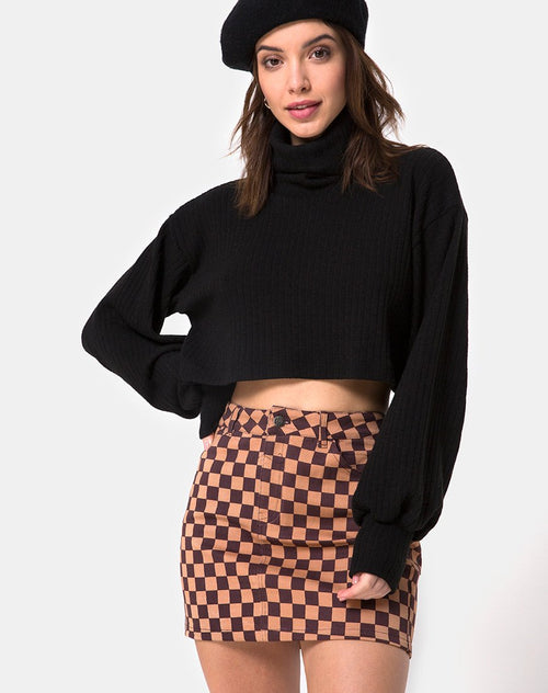 Mini broomy Skirt in Checkerboard Tan by Motel