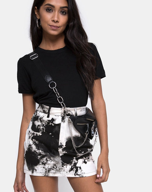 Mini Broomy Skirt in Mono Tie Dye Black and White by Motel