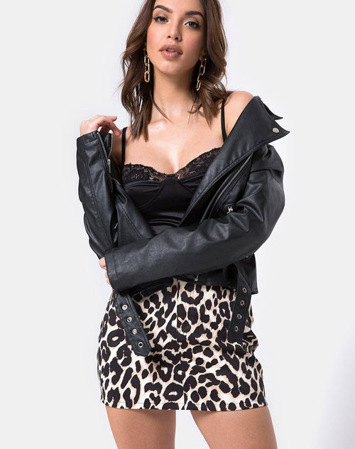 Mini Broomy Skirt in Oversize Jaguar by Motel