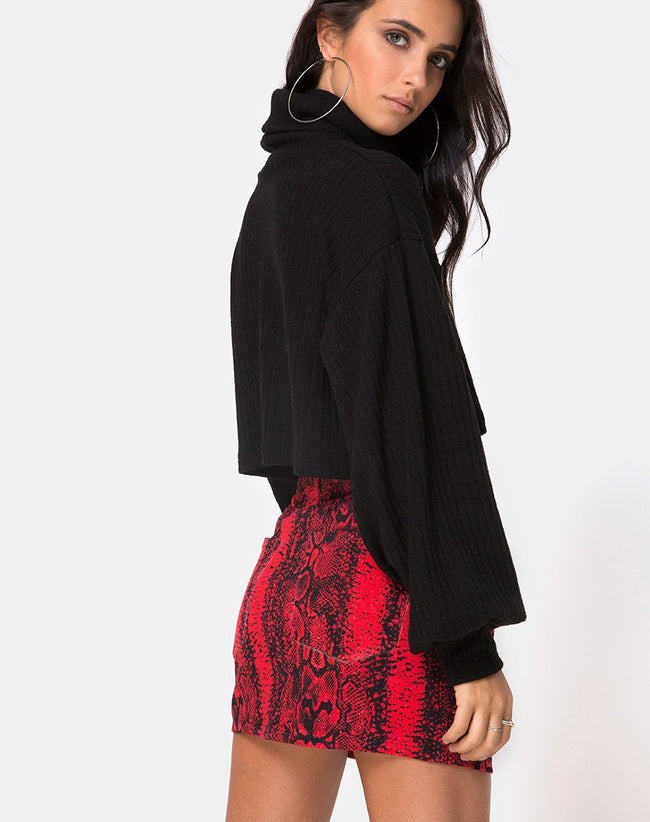 Mini Broomy Skirt in Red Snake by Motel