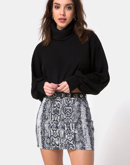 Heva Bodycon Skirt in Black Twill by Motel