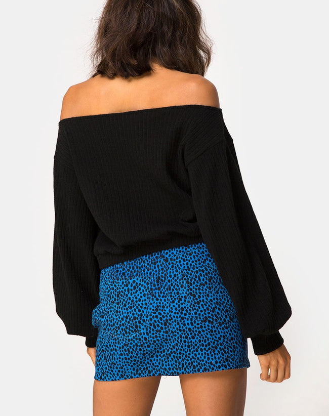 Mini Broomy Skirt in Wild Cat Blue By Motel