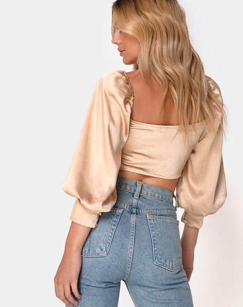 Mirae Crop Top in Satin Gold by Motel