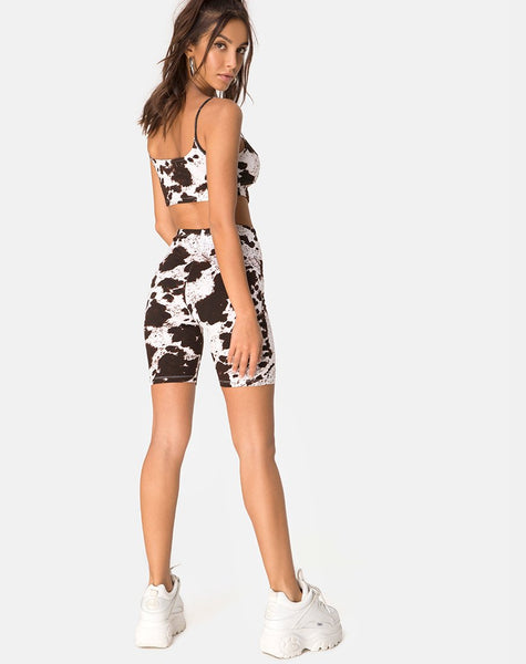 Misda Crop Top in Cow Hide Brown and White by Motel