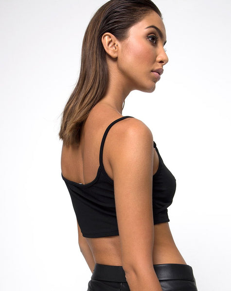 Mish Cutout Crop Top in Black Clasp Gold by Motel