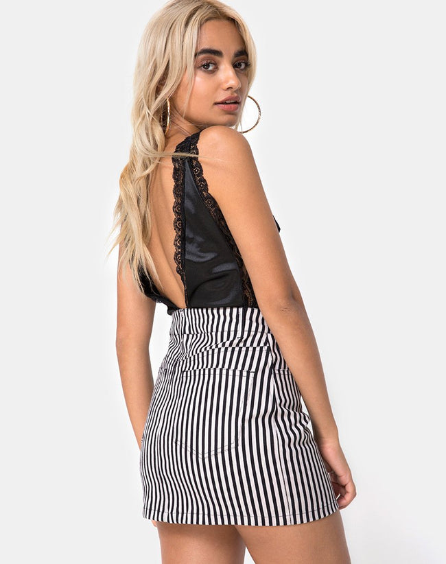 Mini Broomy Skirt in Mini Pinstripe Black and Nude by Motel