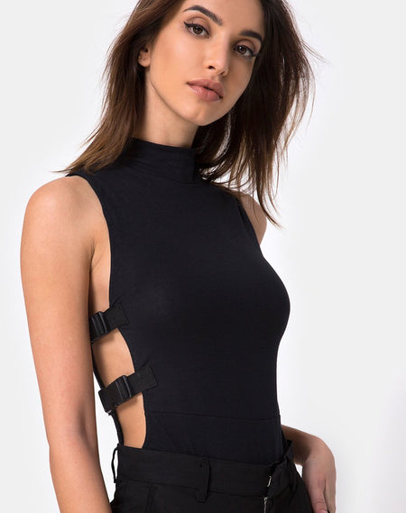 Lidom Bodice in Black with Silver Hook by Motel