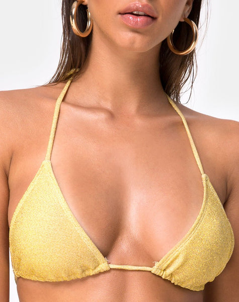 Mone Bikini Top in Golden Glitter by Motel
