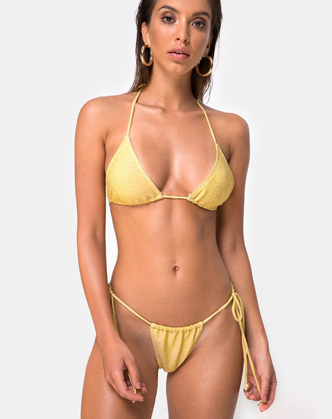 Mone Bikini Bottom in Golden Glitter by Motel