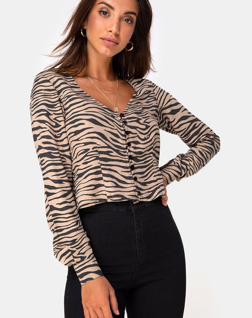 Monty Longsleeve Top in 90's Zebra Taupe by Motel